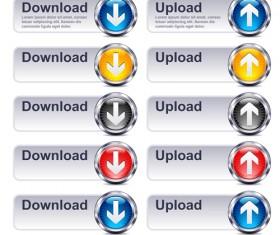 Creative website download buttons vectors set 03