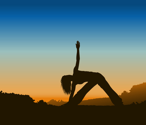 Creative yoga and sunset vector 01