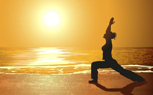Creative yoga and sunset vector 03