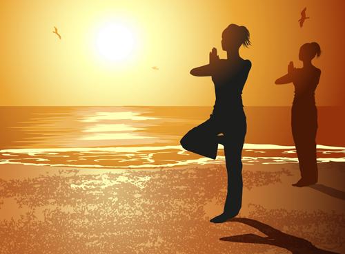 Creative yoga and sunset vector 04