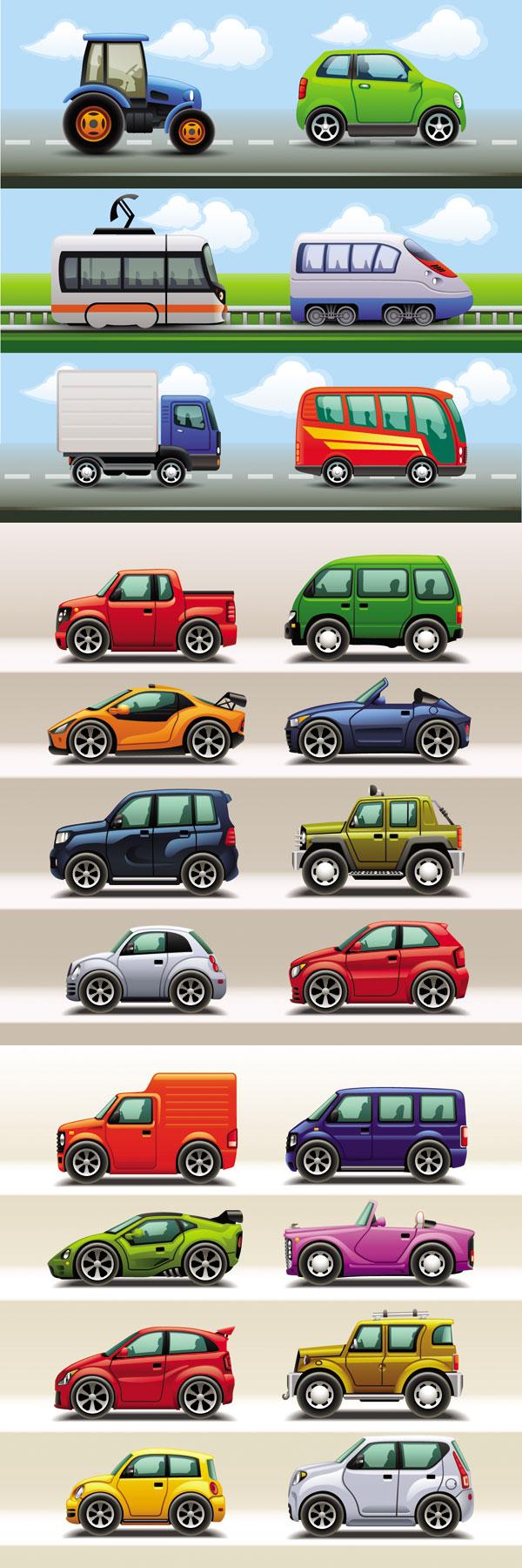 Cute cartoon car creative vector material