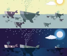 Cute cartoon whales vector graphics