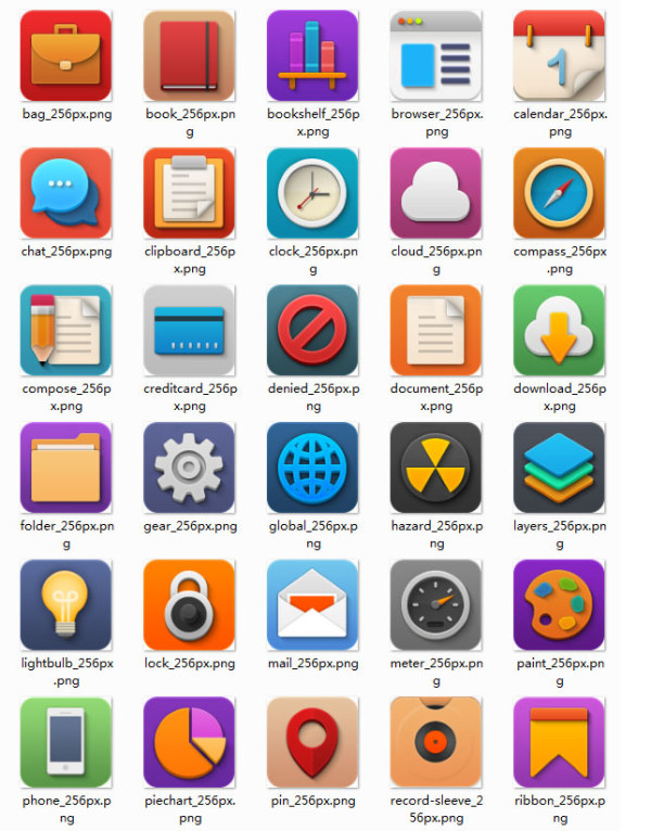 Cute colored application icons set