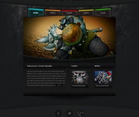 Dark style games website template material