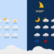 Day and night weather icons psd material