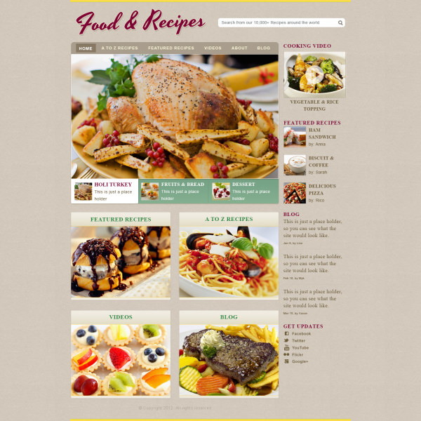 Delicate Food With Recipes Website Template