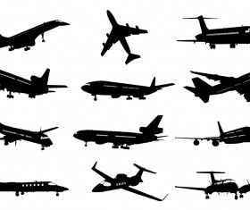 Different airplane silhouette vector set