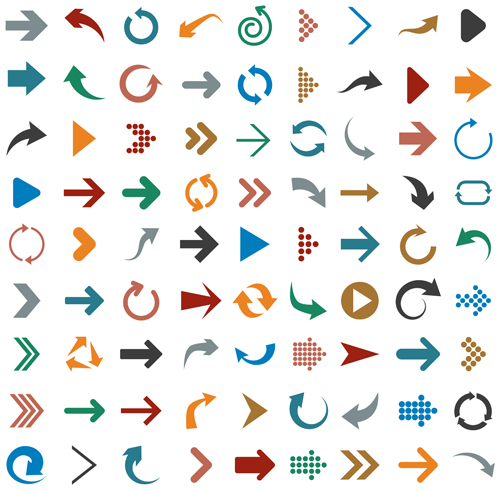 Different arrows logos vector material 01