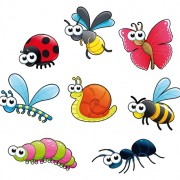 Different cartoon insect vector material
