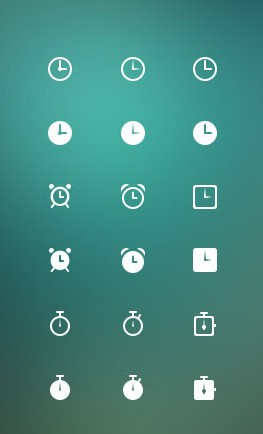 Different clock icons psd
