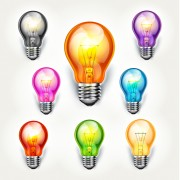 Link toDifferent colored light bulb vector material