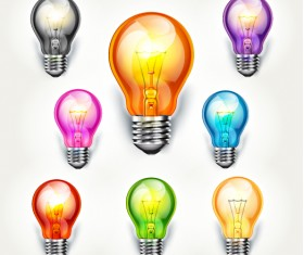 Different colored light bulb vector material