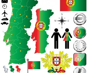 Different countries flags with map and symbols design vector 01