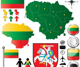 Different countries flags with map and symbols design vector 02