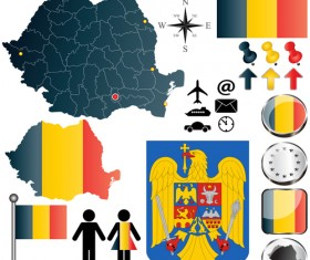 Different countries flags with map and symbols design vector 03