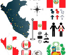 Different countries flags with map and symbols design vector 06