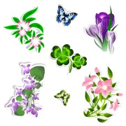 Link toDifferent flower and butterflies vector