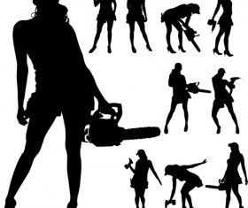 Different occupations man and woman silhouettes vector 04