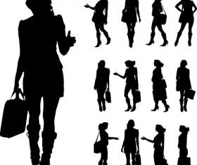 Different occupations man and woman silhouettes vector 05