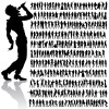 Dancing and singing people silhouettes vector graphics