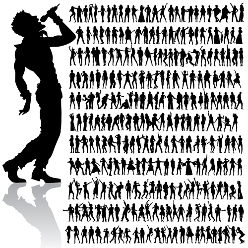 dancing and singing people silhouettes vector graphics free download