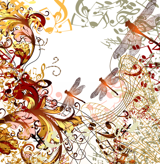Dragonflies and music design vector
