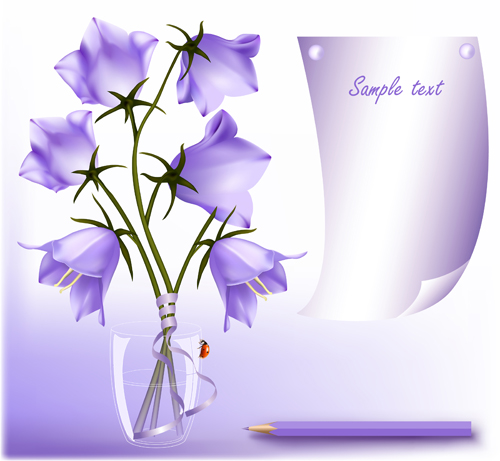Elegant Purple Flower Background Art Vector 02 Free Download