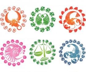 Elegant twelve constellations icons vector