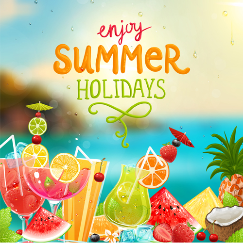 Enjoy Tropical Summer Holidays Backgrounds Vector 04 Free