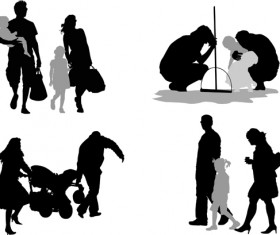 Family members silhouettes vector material