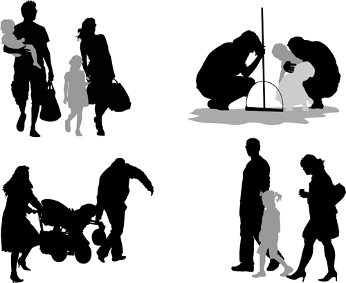 family members silhouettes vector material vector people
