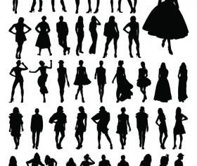 Fashion woman silhouettes vector material