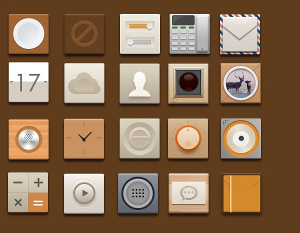 Flat retro style application icons set