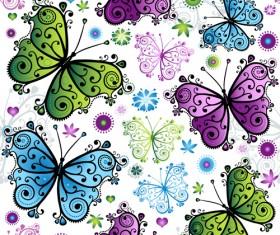 Floral butterflies seamless pattern vector set 01