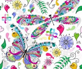 Floral butterflies seamless pattern vector set 04