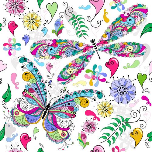 Floral Butterflies Seamless Pattern Vector Set 04 Vector