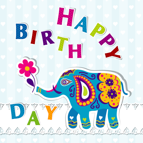 Floral elephants with happy birthday background vector 02