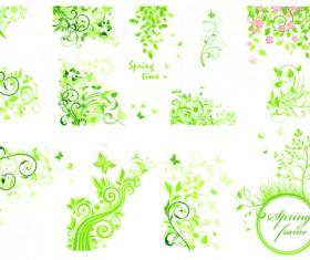 Floral green ornaments vector set 02