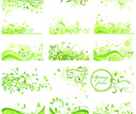 Floral green ornaments vector set 03
