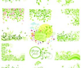 Floral green ornaments vector set 04