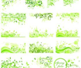 Floral green ornaments vector set 05