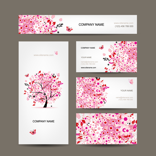 Floral Tree Business Card Design Vector