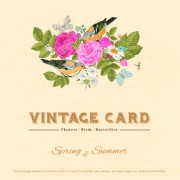 Link toFlower with birds and butterflies vintage card vector 01