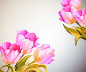 Hand drawn watercolor flower background 03
