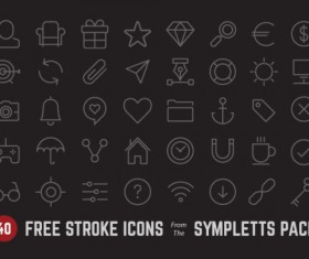 Free 40 Kind black line icons vector