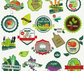 Fresh vegetables labels design vector