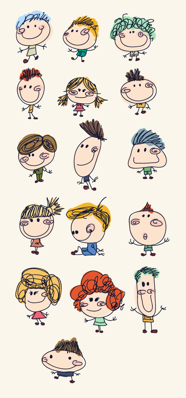 Funny doodle kids vector graphics