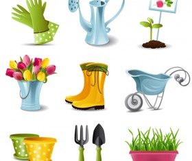 Garden spade and tool with elements vector 01
