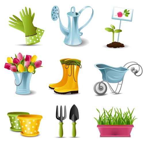 Garden Spade And Tool With Elements Vector 01 Free Download