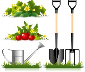 Garden spade and tool with elements vector 02